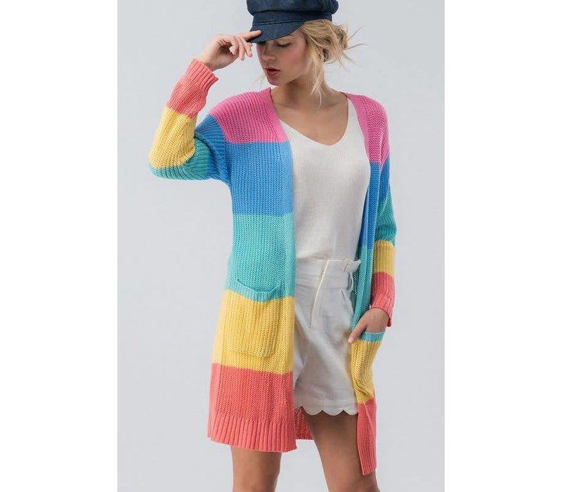 Spring Rainbow Colorblock Sweater Cardi