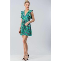 Green Floral Flutter Sleeve Dress