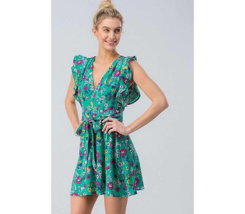 Green Floral Flutter Sleeve Dress
