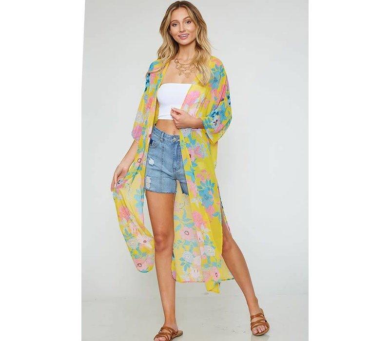 Yellow Hubiscus Kimono