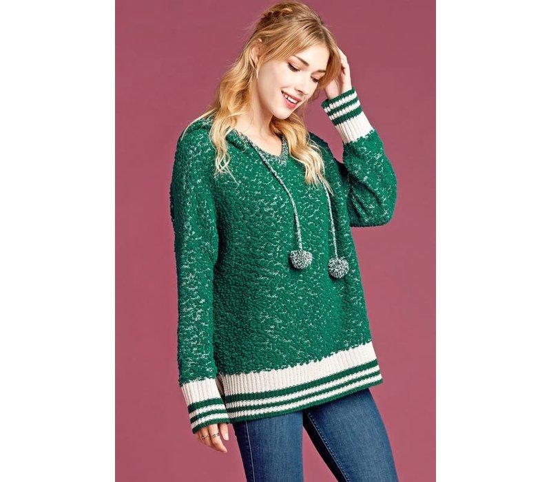 Pom Tassel Hooded Sweater