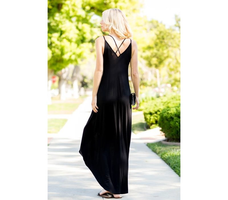 Black Hi-Low Wrap Maxi Dress