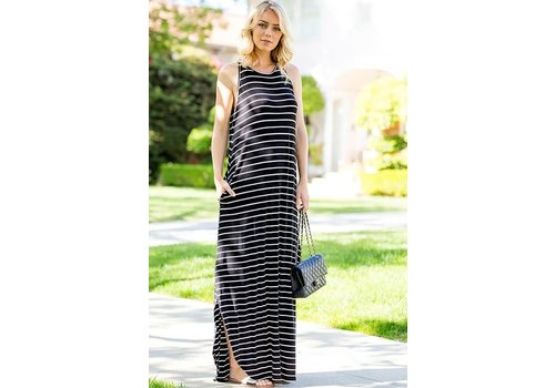 Pinstripe Pocket Maxi Dress in Black & White