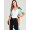 Mint Colorblock Knit Cardigan