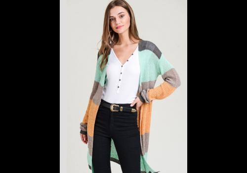 Mint Colorblock Knit Cardigan