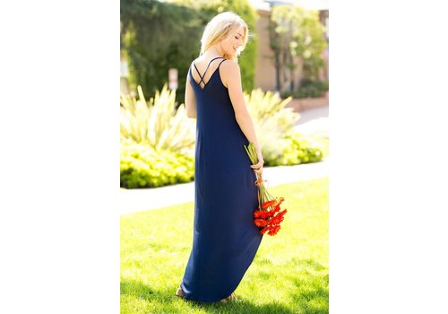Navy Hi-Low Wrap Maxi Dress