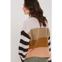 Colorblock & Stripe Sleeve Spring Sweater