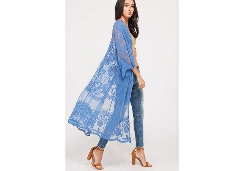 Blue Lace Kimono Duster