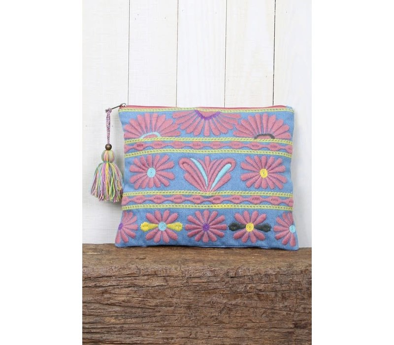 Embroidered Chambray Oversized Zip Pouch