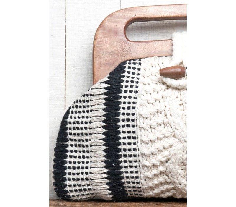Boho Woven Wood Handle Cluth