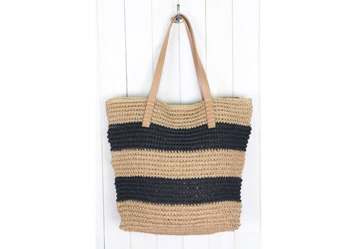 Stripe Handwoven Straw Shoulder Bag