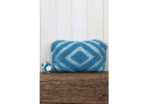 Large Woven Pom Pom Makeup Bag in Blue