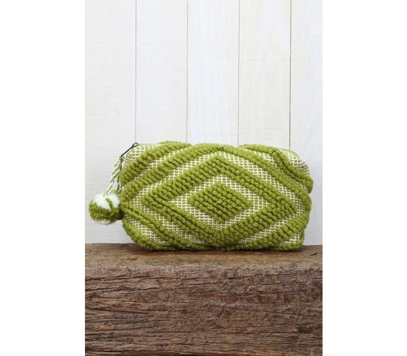 Large Woven Pom Pom Makeup Bag in Lime Green