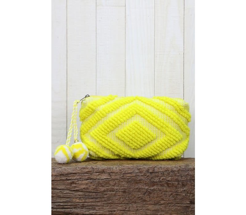 Large Woven Pom Pom Makeup Bag in Yellow