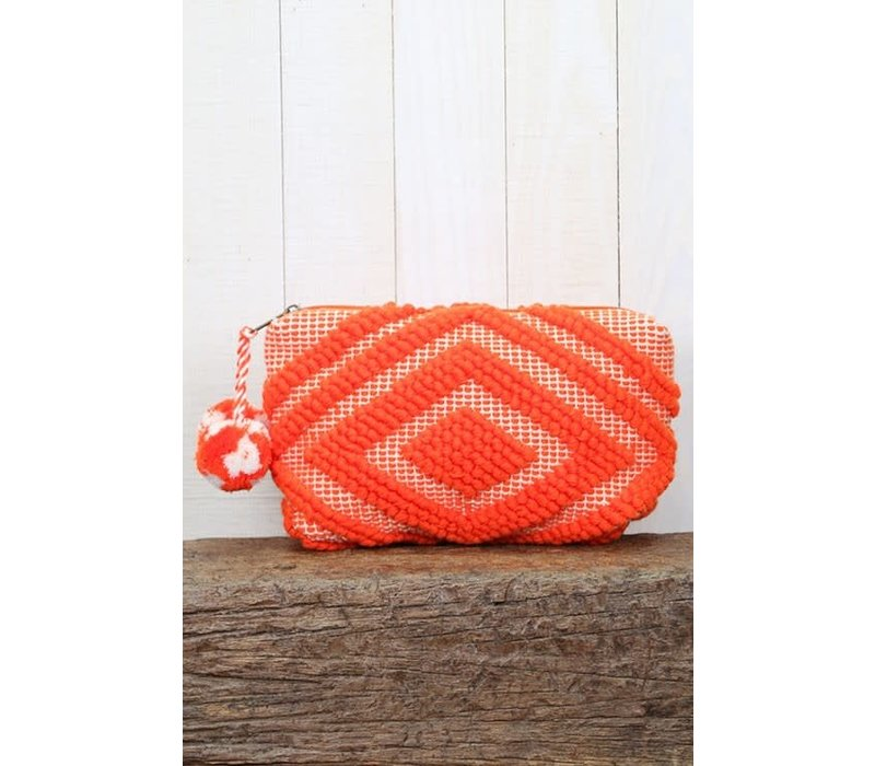 Large Woven Pom Pom Makeup Bag in Orange Coral
