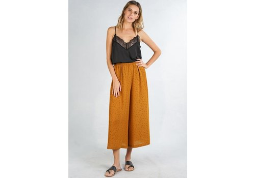 Bohemian Collect Mustard & Black Polka Dot Cropped Pants