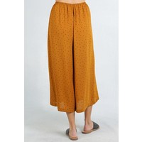 Bohemian Collect Mustard & Black Polka Dot Cropped Pants