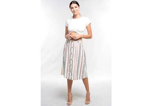 Bohemian Collect Linen Stripe Button Skirt