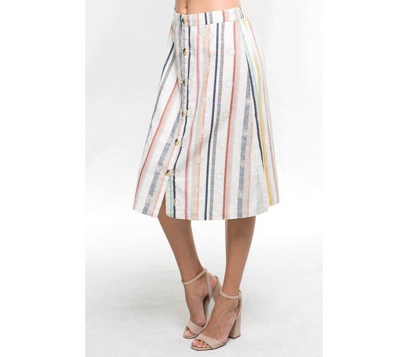 Bohemian Collect Linen Stripe Button Skirt