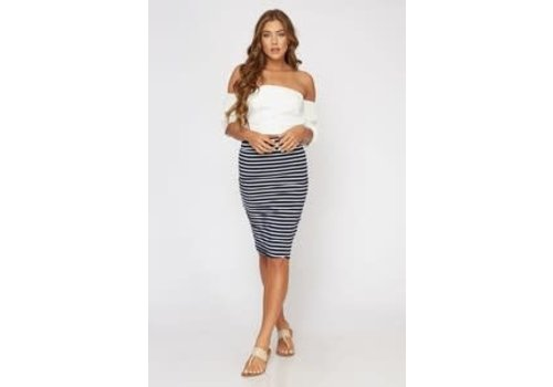 Navy Stripe Knit Pencil Skirt