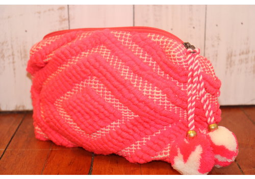 Large Woven Pom Pom Makeup Bag in Neon Pink