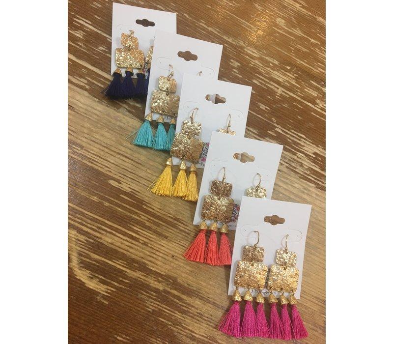 Geo Drop Tassel Earrings