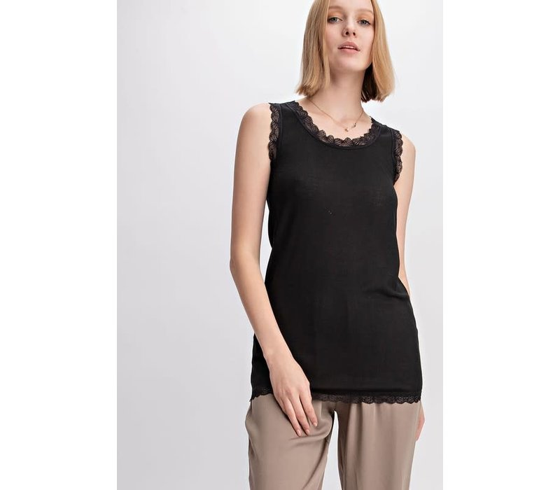 Ribbed Lace Trim Tank in Black