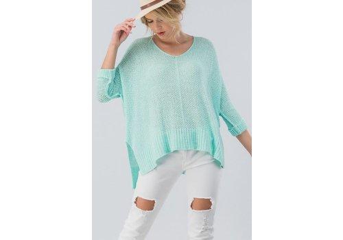 Light Weight Asymmetrical Sweater in Mint