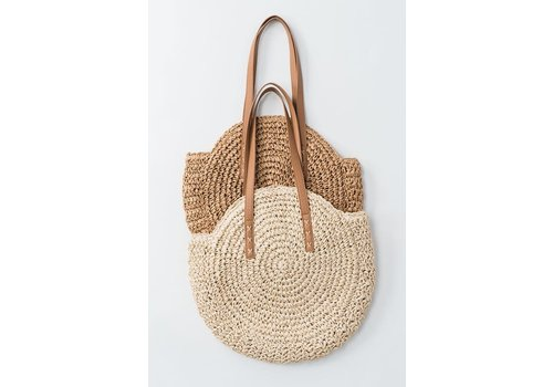 Boho Handmade Rattan Bag with Leather Straps