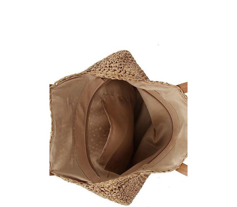 Boho Handmade Rattan Bag with Leather Straps