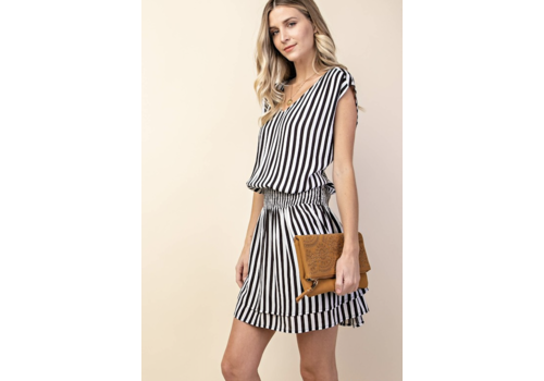 Black & White Stripe Smocked Sundress