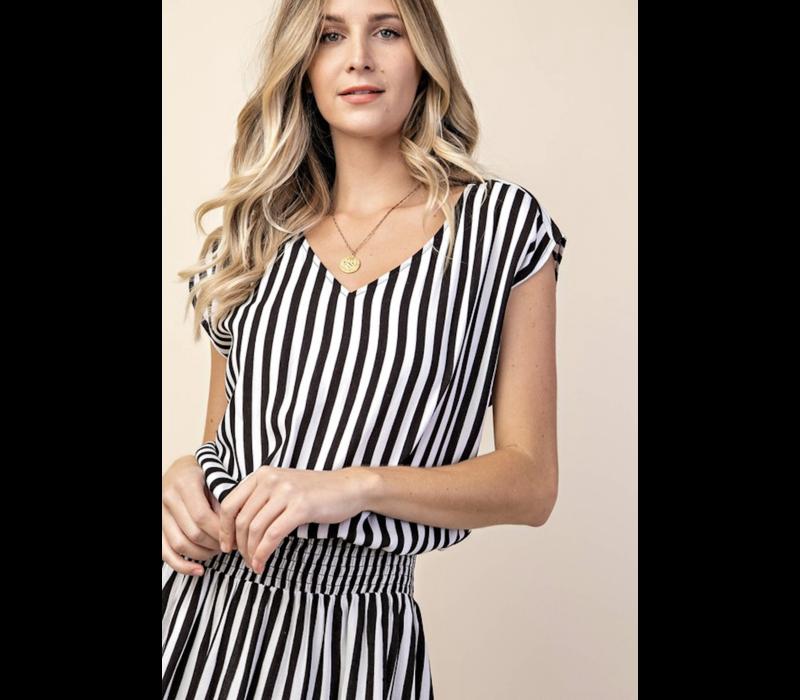 Black & White Stripe Smocked Sundress
