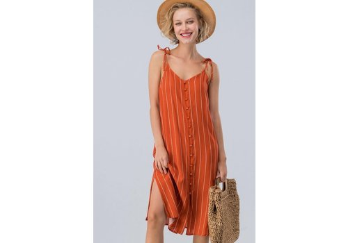 Shoulder Tie Stripe Linen Dress