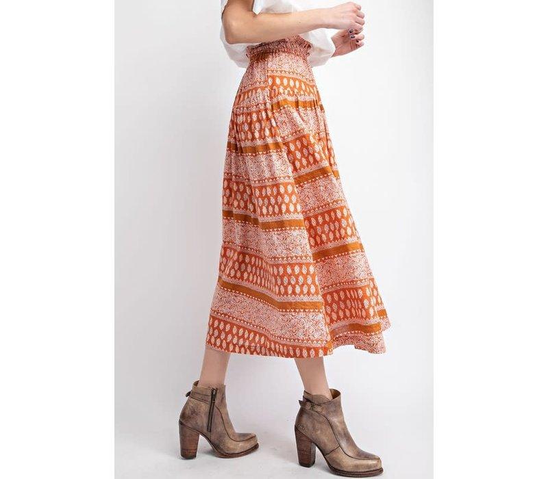 Orange Bohemian Print Skirt