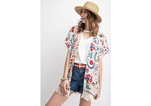Anthro & Fringe Floral Kimono