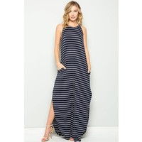 Pinstripe Pocket Maxi Dress in Navy