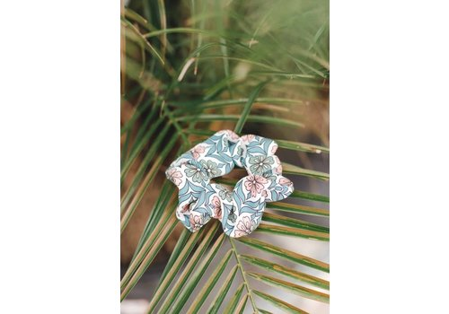 Retro Mint Flower Scrunchie