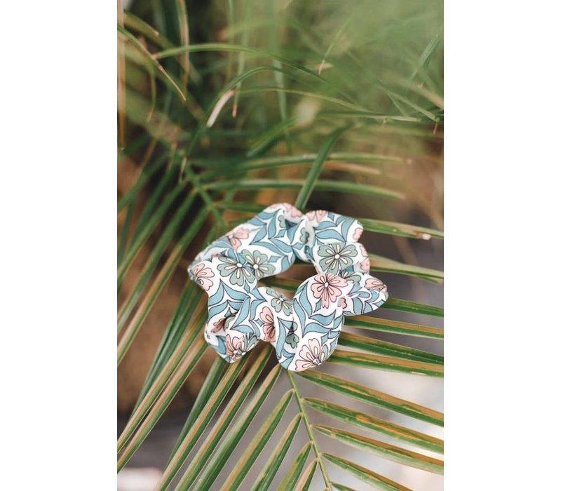 Retro Mint Flower Scrunchie