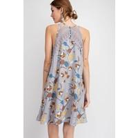 Gray Floral & Crochet Halter Dress