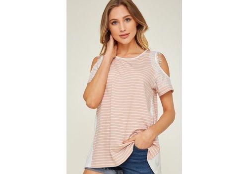 Blush Stripe Cold Shoulder Top