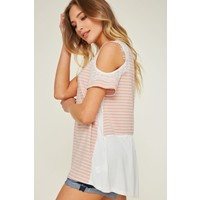 Blush Stripe Cold Shoulder Top