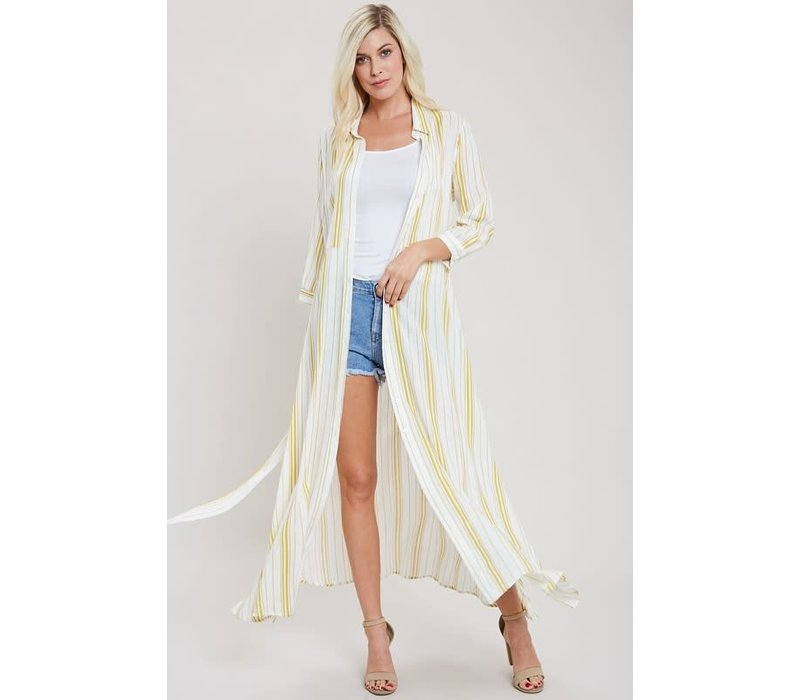 a51d4379402 Sunshine Stripe Maxi Shirt Dress - Little Gypsie Boutique