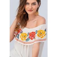 Embroidered Off Shoulder Blouse