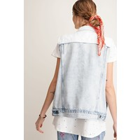 Bleach Washed Denim Vest