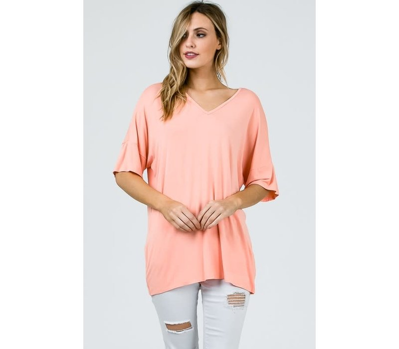 Bamboo Flutter Sleeve Tee in Peach & Pink