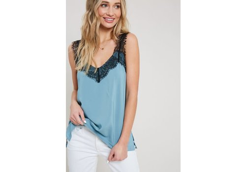 Steel Blue Lace Trim Cami