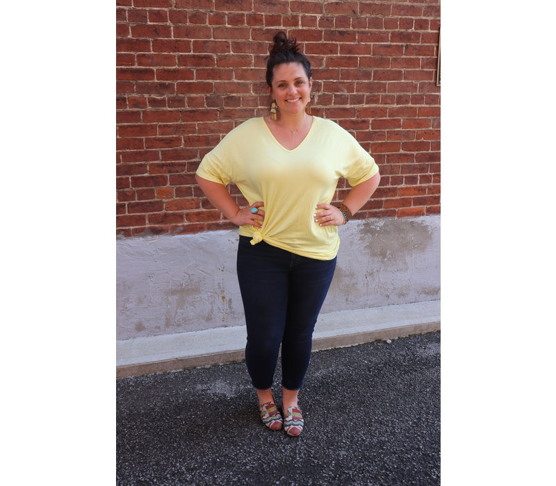 Bamboo Flutter Sleeve Tee in Silver & Sunshine Yellow