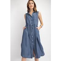Denim Stripe Midi Dress