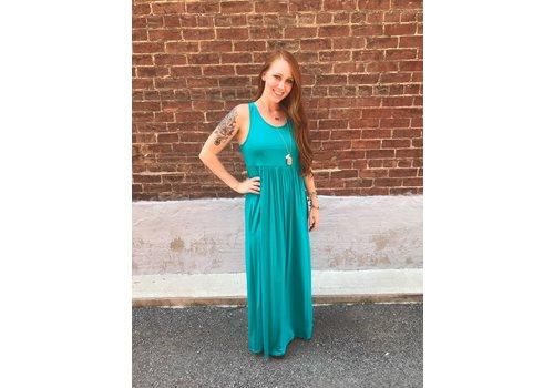 Racerback Maxi Dress in Jade (Fits Small-2X)
