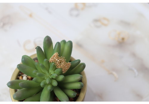 Gold Dipped Filigree Sun Dial Ring
